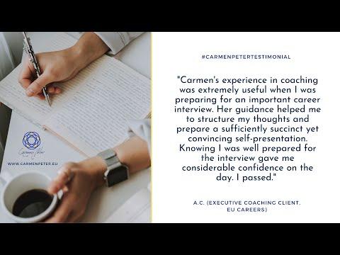 #carmenpetertestimonial – A.C. (Executive coaching client, EU careers) [Video]